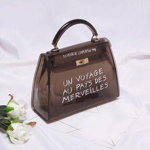 Handbags - Black Transparent Jelly Shoulder Bag Clear Handbag
